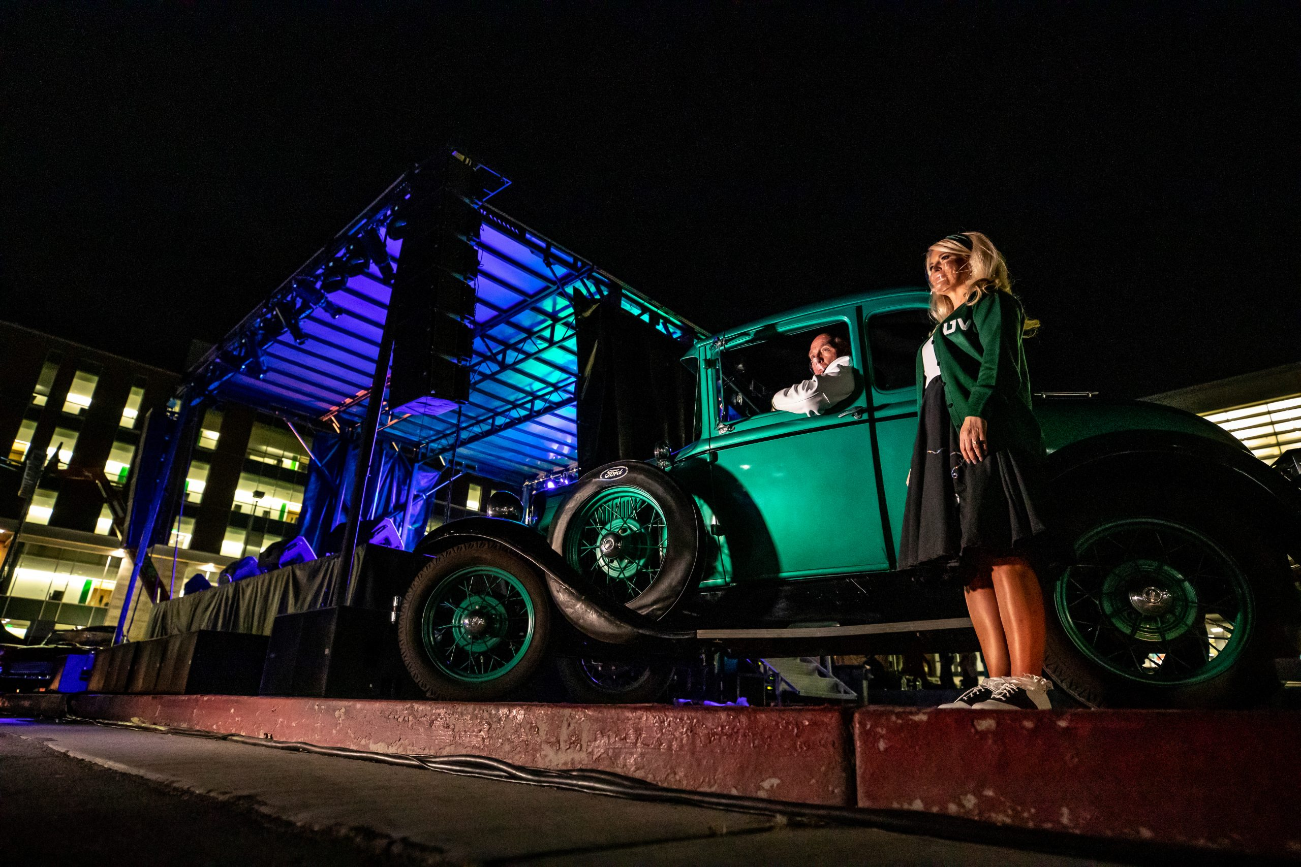 Utah Valley University holds the annual Presidential Scholarship Ball as a pandemic inspired drive-in themed presentation in the library parking lot on the UVU campus in Orem, Utah Saturday, September 26, 2020. (Jay Drowns / UVU Marketing)